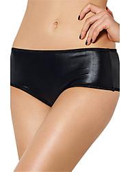 Women's Sexy PU Leather Underwear Ultra-thin Briefs Low Waist Nightwear Panties Plus Size M-6XL