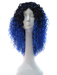 African Black Wig Head Hood Black Gradient Blue Small Wigs Wigs 18inch