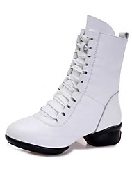 Damen Latin Leder Sandalen Sneakers Professionell Niedriger Heel Weiß Schwarz Rot 5 - 6,8 cm Maßfertigung