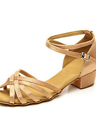 Women's Kids' Dance Shoes PU Heels Practice Gold