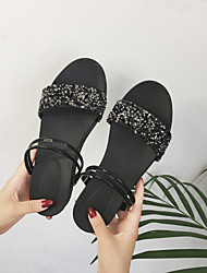 Women's Sandals Slingback Ankle Strap PU Spring Summer Fall Casual Outdoor Walking Slingback Ankle Strap Lace-up Low Heel Black Silver