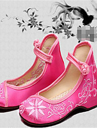 Kids' Dance Sneakers Fabric Flats Practice Blushing Pink Ruby Black