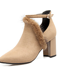 Damen Stiefel Modische Stiefel Stiefeletten Feder / Pelz Nubukleder Herbst Winter Normal Kleid Party & FestivitätModische Stiefel