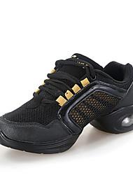 Damen Tanz-Turnschuh Tüll Sneakers Im Freien Farbaufsatz Flacher Absatz Weiß Fuchsia Schwarz und Gold Schwarz/Rot 2,5 - 4,5 cm