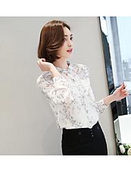 Feminino Blusa Diário Casual Simples Fofo Temática Asiática Primavera Verão,Sólido Floral Chiffon Colarinho de Camisa Manga Longa