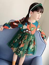 Robe Fille de Mosaïque Polyester Eté Manches longues