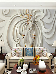 Art Deco 3D Lady Wallpaper For Home Oriental Wall Covering , Canvas Material Adhesive required Mural , Room Wallcovering