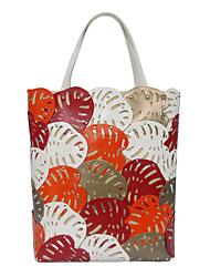 Kate&Co. fashion hand stitching lotus leaves ladies bag shoulder bag TH-02201 orange 12 inches