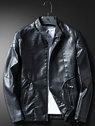 Men's Casual/Daily Vintage Winter Leather Jacket,Solid Stand Long Sleeve Short PU