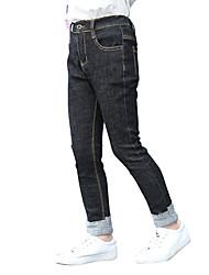 Pantalones Chica Un Color Algodón Poliéster Todas las Temporadas