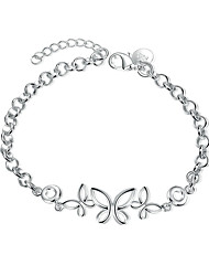 Exquisite Silver Plated Hollow Butterfly Style Chain & Link Bracelets Jewellery for Women Accessiories