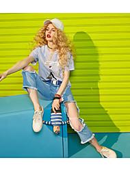 ELF SACKWomen's Mid Rise Inelastic Jeans PantsSimple Relaxed Print