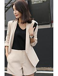 Mujer Moderno / Contemporáneo Formal Verano Blazer Pantalón Trajes,Escote en Pico Un Color