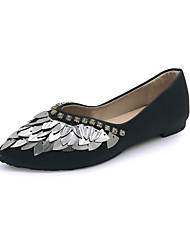 Women's Flats Formal Shoes PU Fall Casual Dress Walking Formal Shoes Sequin Flat Heel Black White Under 1in