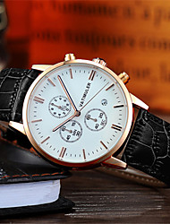 Men's Fashion Watch Japanese Quartz Calendar Chronograph Noctilucent Leather Band Black Brown