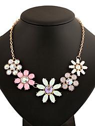 Women's Pendant Necklaces Statement Necklaces Jewelry Circle Oval Geometric Metal Alloy Resin Metallic Rhinestones Basic Geometric Jewelry