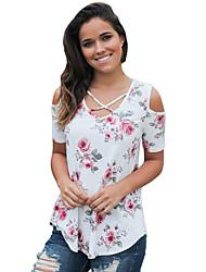 Tee-shirt Femme,Fleur Vacances Sortie Mignon Eté Manches Courtes Col en V Polyester Spandex Moyen