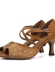 Damen Latin Seide Sandalen Absätze Aufführung Strass Verschlussschnalle Keilabsatz Schwarz Purpur Braun Rot2,5 - 4,5 cm 5 - 6,8 cm 7,5 -