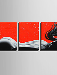 E-HOME Stretched Canvas Art  The Back Of A Woman  Decoration Painting Set Of 3