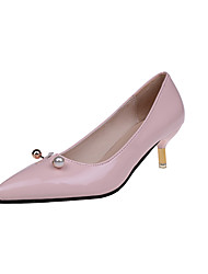 Women's Heels Formal Shoes Comfort PU Fall Party & Evening Dress Walking Formal Shoes Comfort Pearl Stiletto HeelBlushing Pink Black