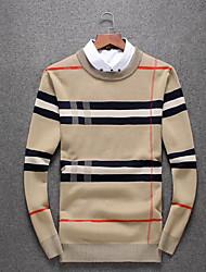 Standard Pullover Da uomo-Quotidiano Casual Semplice A strisce Griglia / Plaid Girocollo Manica lunga Cotone Maglia Primavera Autunno