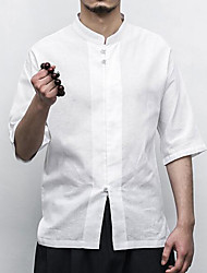 Men's Casual/Daily Work Simple Shirt,Solid Stand Half Sleeves Cotton Linen Others
