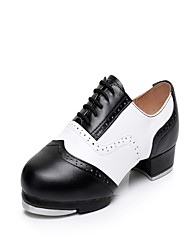 "Women's Tap Real Leather Heels Sneakers Practice Splicing Low Heel White/Green Black/White Red/White Brown/White Black 1"" - 1 3/4"""