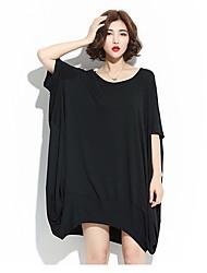 Damen T Shirt Kleid-Lässig/Alltäglich Solide Rundhalsausschnitt Übers Knie Halbe Ärmel 100% Baumwolle Alle Saisons SommerMittlere