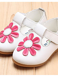 Girls' Flats First Walkers Cowhide Spring Fall Casual Walking First Walkers Magic Tape Low Heel Ruby Yellow White Flat