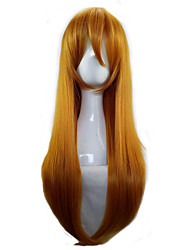 Women Orange 70cm Long  Straight  Synthetic Hair Lolita Cosplay Party  Wig