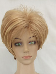 Woman Sexy Hair Wig with Dark Roots Blonde Mixed Short Layered Synthetic Straight Wigs High Temperature Fiber