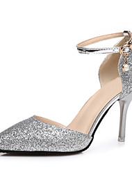 Damen High Heels Pumps Paillette Sommer Hochzeit Kleid Party & Festivität Pumps Schnalle Stöckelabsatz Gold Schwarz Silber 7,5 - 9,5 cm