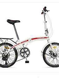 Bicicleta Dobrável Ciclismo 7 Velocidade 20 polegadas YINXING Freio a Disco Duplo Sem AmortecedorQuadro de Aço Carbono Dobrável Sem