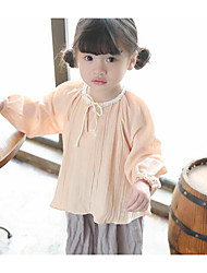 Girls' Solid Tee,Linen Summer Long Sleeve Regular