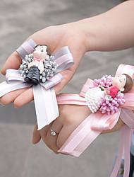 Wedding Satin Pink Bride Wrist Corsages Grey Groom Brooch