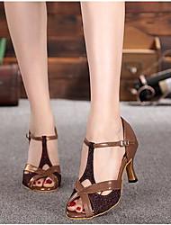 Damen Tanz-Turnschuh PU Sandalen Sneakers Im Freien Blockabsatz Braun 5 - 6,8 cm