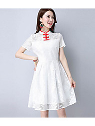 Women's Casual/Daily Simple A Line Dress,Solid Stand Above Knee Short Sleeve Lace Summer Low Rise Micro-elastic Medium