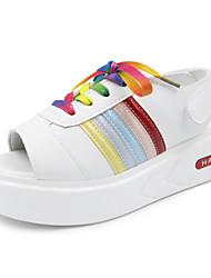 Для женщин Сандалии Удобная обувь Полиуретан Лето Повседневные Удобная обувь Черный Красный Цвет экрана На плоской подошве