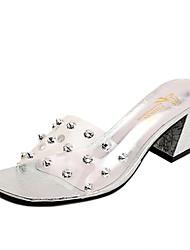 Feminino Sandálias Fashion Shoe transparente Couro Ecológico Primavera Verão Diário Para Noite Fashion Shoe transparente TachasSalto