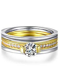 Damen Ring Kubikzirkonia Elegant Doppelschicht Klassisch Platin Gold Titanstahl Runde Form Schmuck FürHochzeit Party / Abend Verlobung