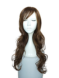 Long Wave Wig Synthetic Fiber Wig With Neat Bangs Women Costume Wig