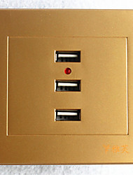 Type 86 USB*3 Power Outlet   Automatic Power-Off  Golden