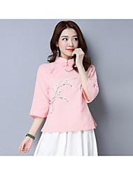 Feminino Camisa Social Casual Simples Fibra Sintética Colarinho Chinês