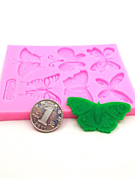 6 cavity butterfly cake tool fondant silicone mold cake decorating mold Turn sugar moulds texture butterfly shape Random Color