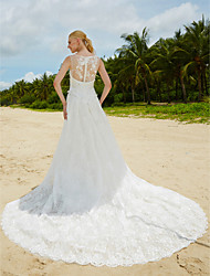 Mermaid / Trumpet Jewel Neck Sweep / Brush Train Lace Wedding Dress with Beading Lace by LAN TING BRIDE®