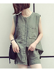 Mujer Sensual Chic de Calle Noche Casual/Diario Primavera Verano T-Shirt Pantalón Trajes,Escote Chino Un Color Con Texturas SexySin