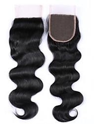 1 pièce 8-20 pouces de qualité 8a 100% brésilien cheveux humains fermeture de dentelle ondulée libre / moyen / 3 partie 4x4 fermetures de