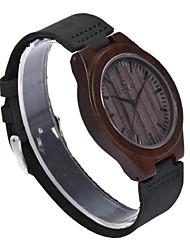 Hombre Reloj Madera Japonés Cuarzo de madera Cuero Auténtico Banda Elegantes Negro Marrón