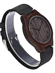 REDEAR®Men's Wood Watch Japanese Quartz Wooden Genuine Leather Band Elegant Black Brown