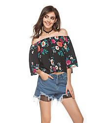 Для женщин Повседневные Лето Блуза Вырез лодочкой,Очаровательный Цветочный принт Рукав до локтя,Шифон,Тонкая